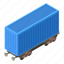 container, isometric, object, train, transport, transportation, wagon
