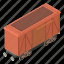freight, isometric, object, train, transport, transportation, wagon
