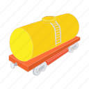 cargo, cartoon, petroleum, rail, train, transport, transportation icon