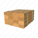 board, cartoon, pile, stack, storage, timber, wood icon