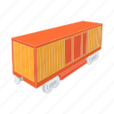 cartoon, freight, railway, train, transport, transportation, wagon icon
