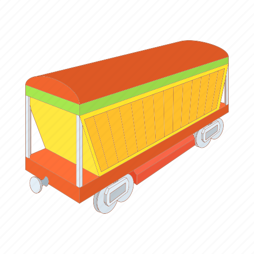 cartoon, freight, railway, train, transport, transportation, wagon icon