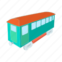 cartoon, railway, retro, train, transportation, wagon icon