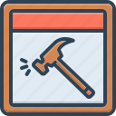 break, emergency, emergency window, hammer, window icon