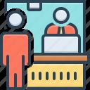 cashier, employee, laptop, passenger, queue, ticket counter, window icon