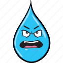 cartoon, drop, emoji, rain, smiley icon