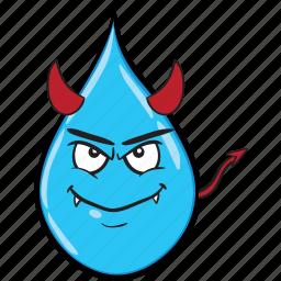 cartoon, drop, emoji, rain, smiley icon