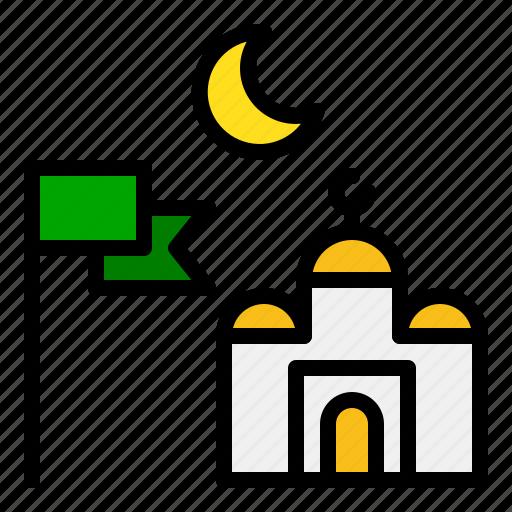 crescent, flag, islam, islamic, mosque, muslim, ramadan icon