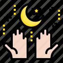 crescent, hand, islam, moon, muslim, ramadan