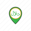 food, halal, location, map, pin, restauran icon