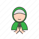 forgive, hand, muslim, woman icon