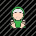 hand, muslim, praying, woman icon