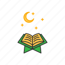 book, holy, islam, night, quran, read icon