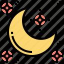 crescent, luna, moon, night, ramadan