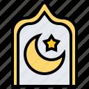 crescent, islam, moon, night, star