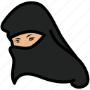 hijab, muslim, veil, woman icon