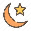 crescent, eid, light, moon, ornament, ramadan, star icon