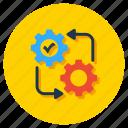 business management, execution, performance, process flow, project management icon