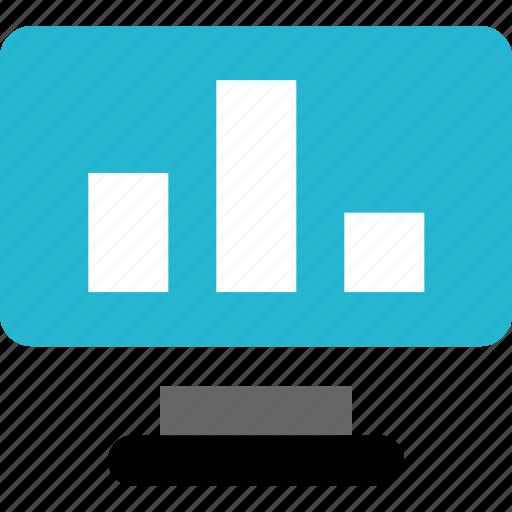 bars, data, monitor, online icon