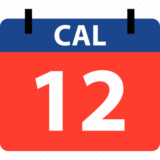 calendar, event, number, twelve icon