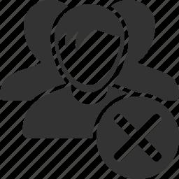 close, contact, delete, group, profile, remove, users icon