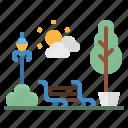 bench, garden, landscape, park, tree icon