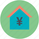 bank, building, home finance, housing, yen sign icon