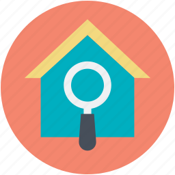 gps, house search, magnifying glass, real estate, rental concept icon