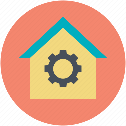 Home economics, house with gear, housing business, real estate, residential construction icon - Download on Iconfinder