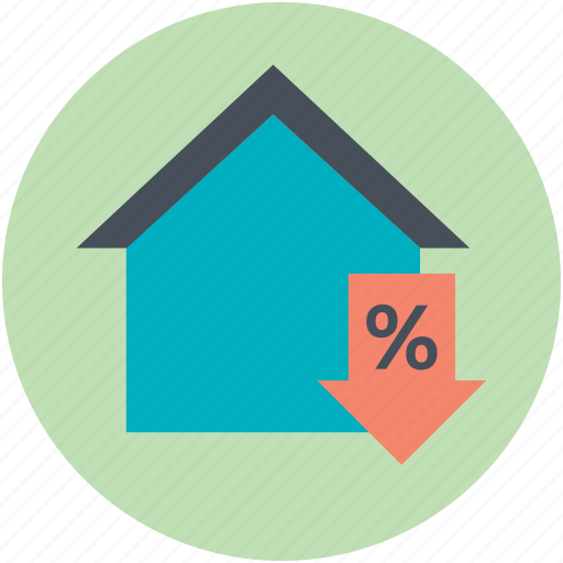 crashing housing market, down arrow, house, insurance problems, percent sign icon