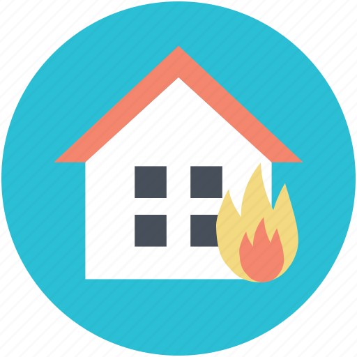 burning house, fire sign, home fire, house, house insurance concept icon