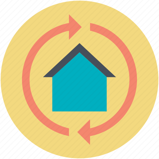 build, home construction, home renovation, housekeeping, real estate, rotating arrows icon