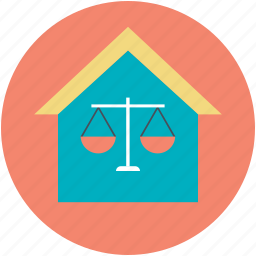 balance scale, court building, house, justice house, law court icon