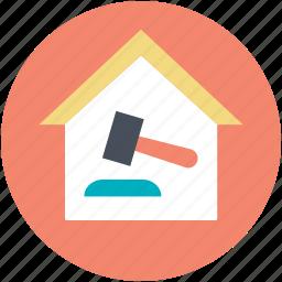 auction, building, hammer sign, public sale, sale icon