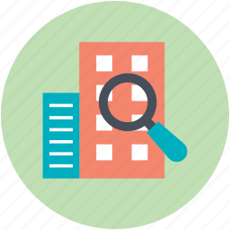 building search, gps, magnifying glass, real estate, rental concept icon