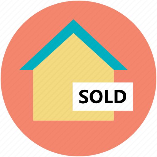 building, house sold, info, real estate, sold sign icon
