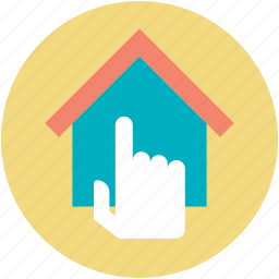 architecture, finger touch, home, home select finger, house selection icon