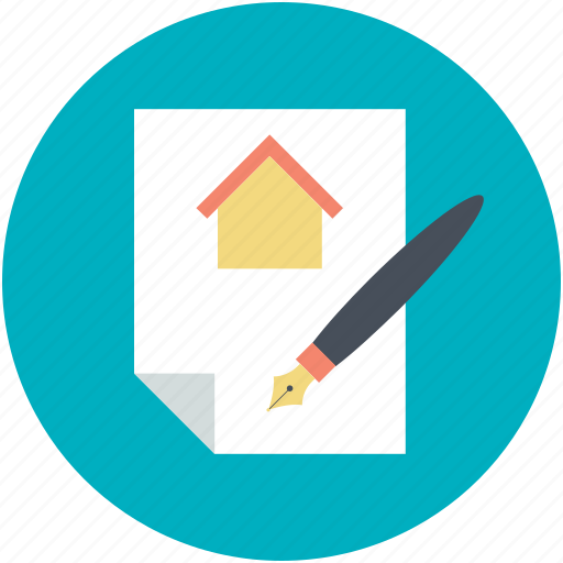 house investment, mortgage, mortgage loan, property papers, rental agreement icon