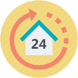 house, house number, property services, reload arrow, twenty four sign icon