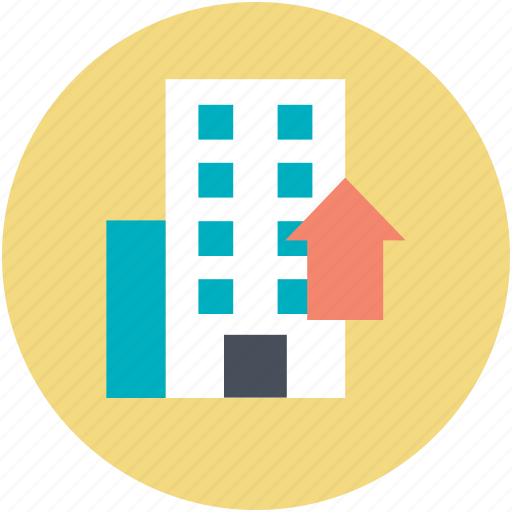 asset pricing, building, building value, real estate, up arrow icon