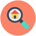 house magnifier, house search, location pointer, magnifying glass, real estate icon