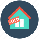 info, sold, sold home, sold property, sold sign icon
