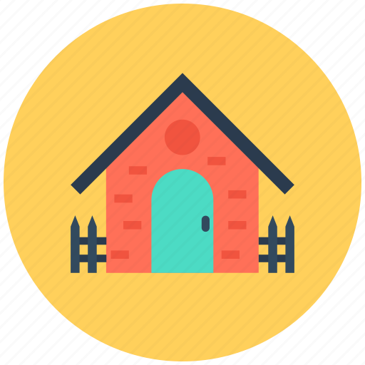 garden theme, house, house yard, rural house, sun icon