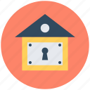 home security, house, key slot, lock sign, locked home icon