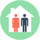 architect, builder, couple house, family house, landlord icon