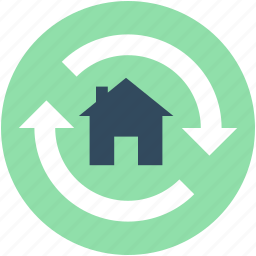 construction, home construction, home renovation, refresh home, rotating arrows icon