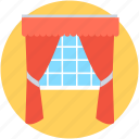 apartment window, home window, living room, stage curtain, window icon