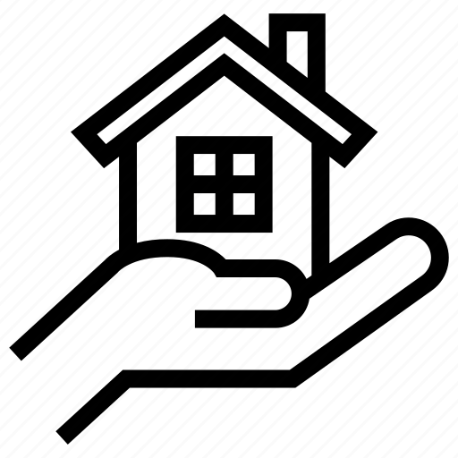 estate, hand, holding, house, interaction, property, real icon