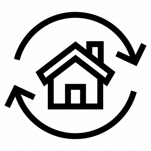 estate, exchange, home, house, property, real, refund icon