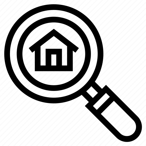 estate, find, home, magnifier, property, real, search icon